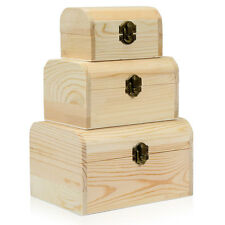 3 x Wooden Pirate Treasure Chest Wood Jewellery Rings Necklace Storage Craft Box