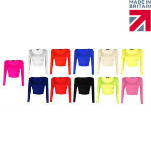 Womens-New-Crop-Top-Ladies-Long-Sleeve-Stretch-Vest-T-Shirt-Tee-Sizes-8-10-12-14
