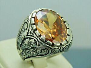 Turkish Handmade Jewelry 925 Sterling Silver Citrine Stone Men Ring Sz 10