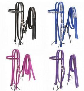 Tough-1-Nylon-Bridle-with-Printed-Metallic-Overlay-Horse-Tack-42-9975