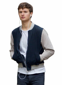 0b0e7ce61a24 Men s Baby Driver Movie Jacket Ansel Elgort Varsity Bomber Cotton ...