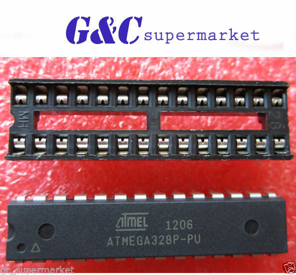 1PCS ATMEGA328P-PU with arduino UNO BOOTLOADER  + DIP SOCKET NEW DATE CODE 12+