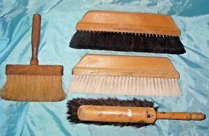 4 Vintage LARGE Whisk Broom horse hair bristles brushes sweeper carpenters tool