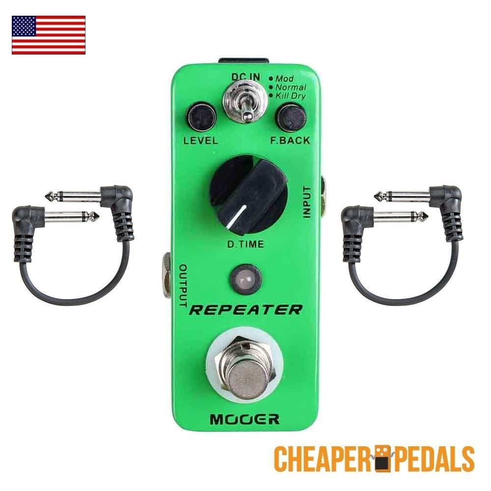 NEW MOOER REPEATER Digital Delay Peda + 2 FREE Patch Cables and FREE Shipping
