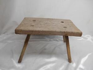 Details About Antique Primitive Wood Milking Stool Bench 4 Leg Chair Old Vtg Furniture Rustic