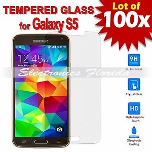 100X Premium Tempered Glass Film Screen Protector 2.5D for Samsung Galaxy S5