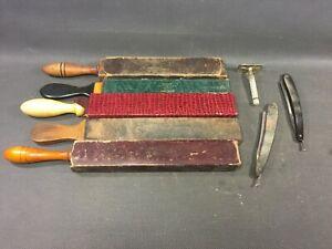 Antique-Lot-Of-Barber-Sharpener-Cut-Cabbage-Shaver-Vintage-Deco-Fair-Salon