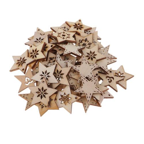 100pcs Natural Wood Stars Wooden Cutouts Laser Cut Pendants Embellishments
