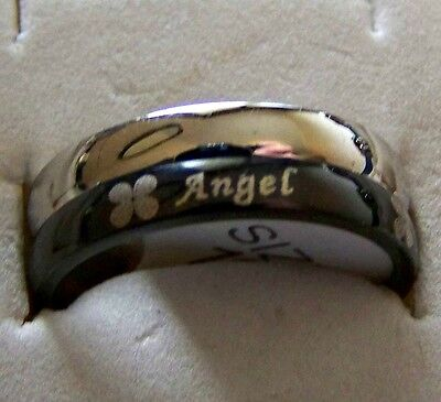 ANGEL ~  S/STEELE _SPINNER_RING_SIZE:8 -- (GREAT_GIFT)