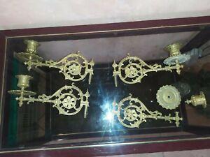 Lot 4 appliques bras bougeoirs de piano en bronze signé E. Muller Paris