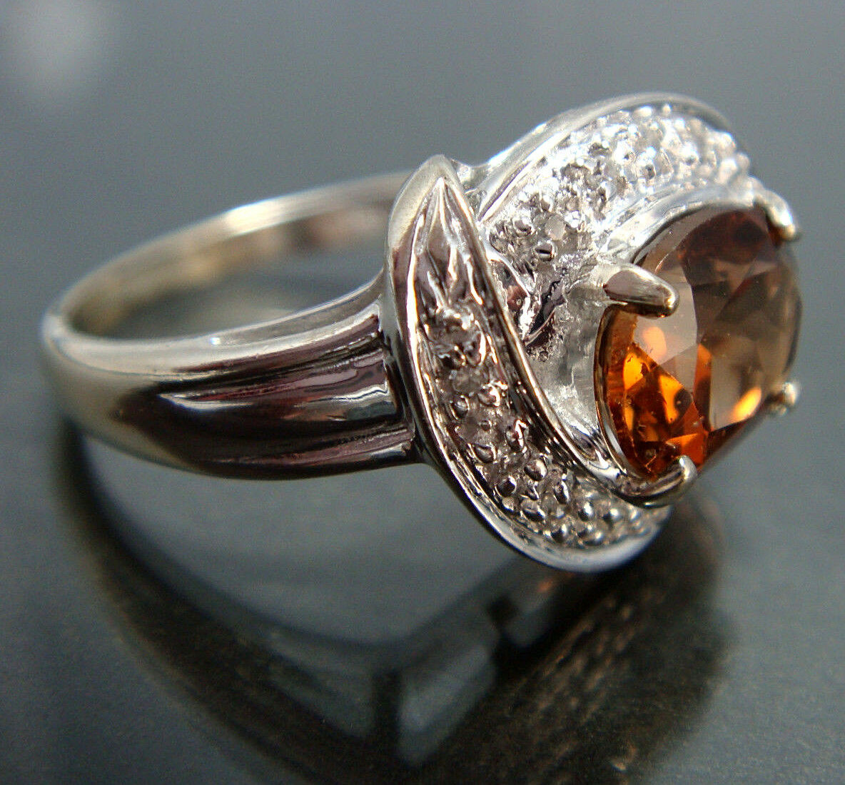 Genuine Precious Imperial Topaz & Diamond Halo 14k White gold Ring 4.7g Size 8