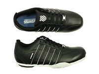 MENS NEW KSWISS ARVEE LACE UP LEATHER TRAINERS IN BLACK WHITE COLOUR SIZE 6-12