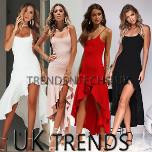 600991a29bbd29 Image is loading Womens-Asymmetric-Frill-Maxi-Dress-Strappy-Bodycon-Slit-