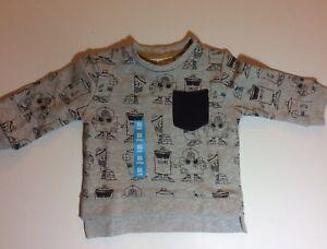 NWOT-Zara-Baby-Boy-Graffiti-Spray-Paint-Cotton-Blend-Sweatshirt-Size-3-6M-Gray