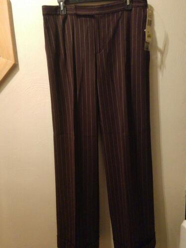 Ralph chiaro taglia in lana tag strisce Lauren marrone pantaloni con marrone Donna nuovi 10 a rHqrgxwv