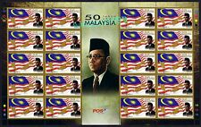 2013 Malaysia 50 Years Anniversary (Flag Map Prime Minister) 20v Stamps Sheetlet