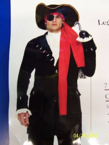 7 pc Captain Pirate Caribbean Buccaneer Coat Dress Up Adult Halloween Costume