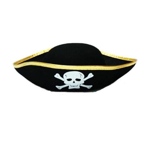 Kids Unisex Non-woven Fabrics Black Caribbean Pirate Captain Hat Costume Party