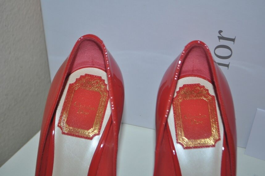 New in Box Christian Dior Dior Dior Miss Dior Peep Toe Plateforme Pompe Chaussures vernies rouge mondr 36 81c16f