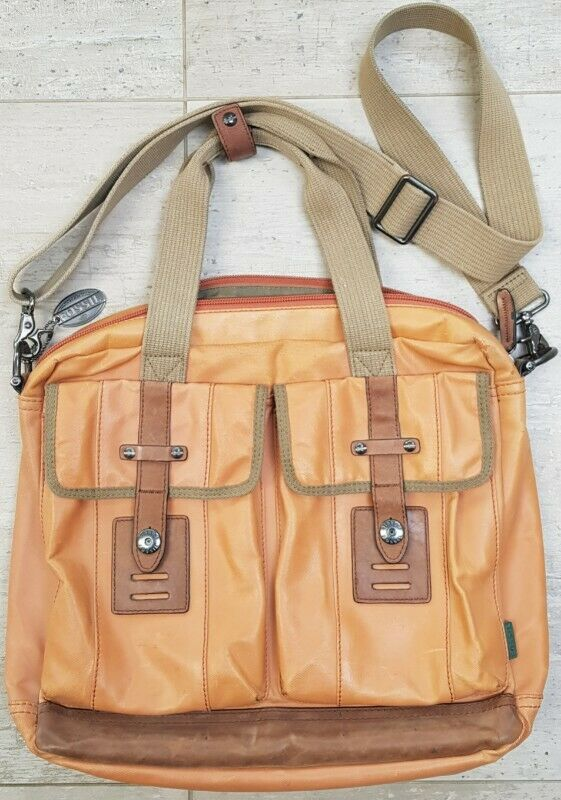 FOSSIL Premium quality Laptop Bag - in dusty mink waterproof canvas, with brown genuine leather trim
