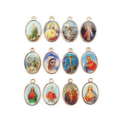 Catholic Religious Silver Enamel Art Medals Charms Pendants 2-to-1 Connexctor