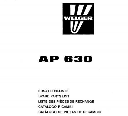 WELGER AP630 IMBALLATRICE MANUALE PARTI catalogo elenco parti di ricambio file PDF
