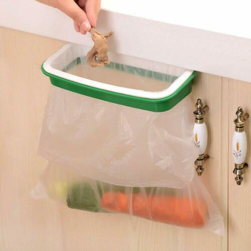 Hanging Trash Garbage Rubbish Bag Holder for Kitchen Cupboard Green and White