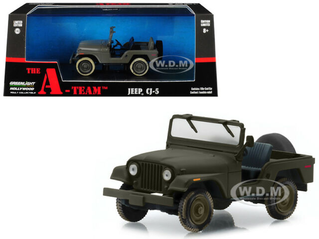 """JEEP CJ-5 ARMY GREEN """"THE A-TEAM"""" (1983-1987) TV SERIES 1/43 BY GREENLIGHT 86526"""