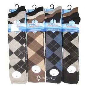 6 Pairs Mens Argyle Wool Thermal Socks Shoe Size 6-11 Diamond Walking Winter Sox