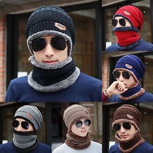 Winter-Beanie-Hat-Scarf-Set-Fleece-Warm-Balaclava-Snow-Ski-Knitted-Cap-Men-Women