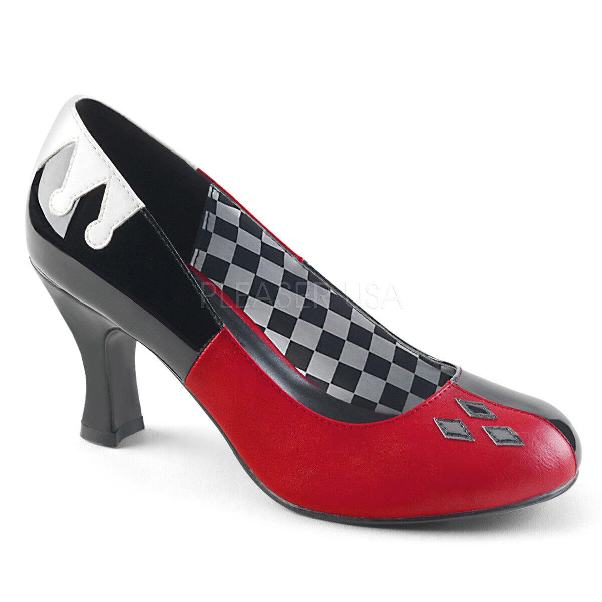 PLEASER Funtasma Harley - 42 rosso nero Jester Costume Harley Quinn Pompe