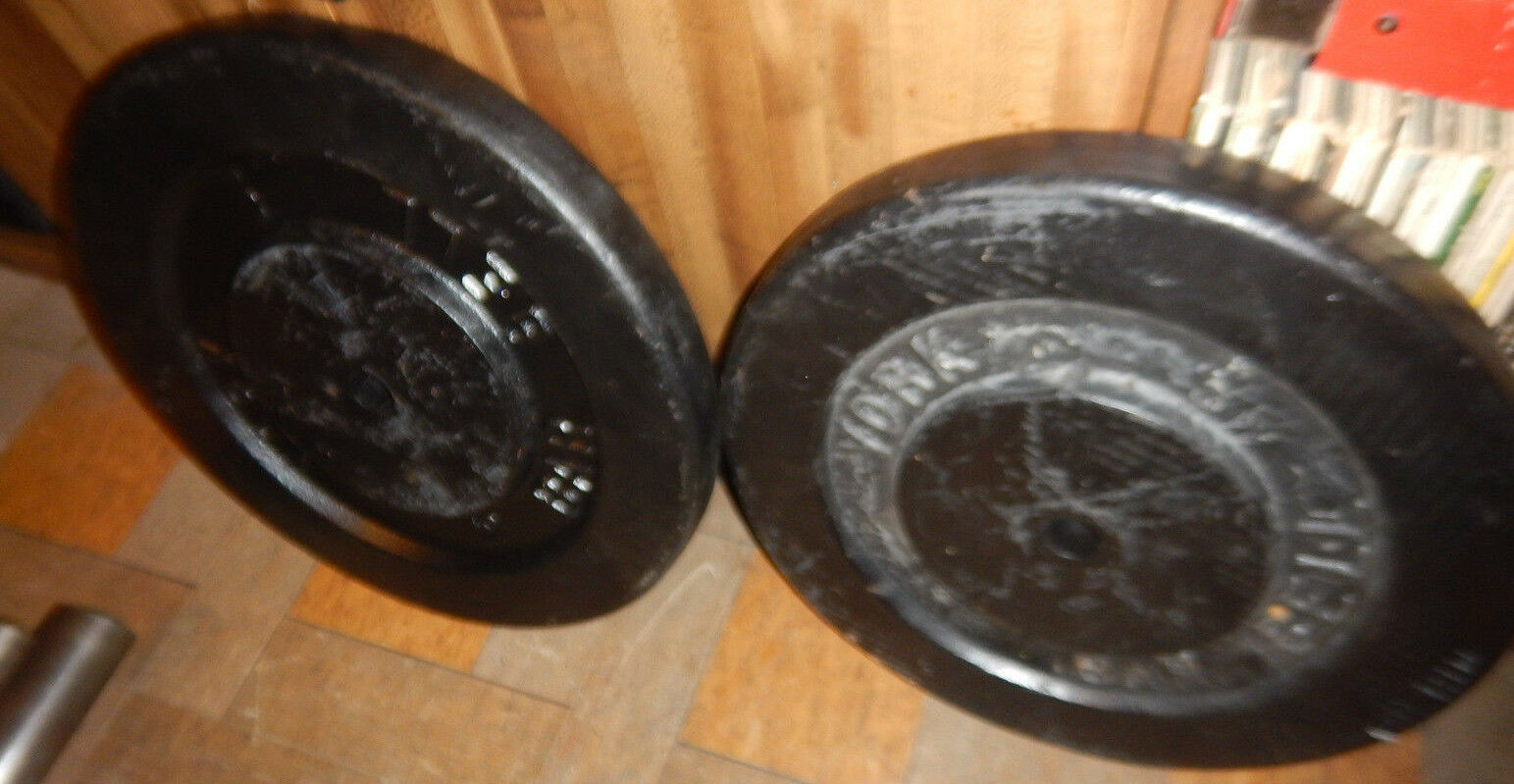 VINTAGE YORK 75  LBS POUND WEIGHT PLATES FOR 1  DIAMETER BARS  the lowest price