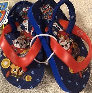 b91b26e0a49fa NWT Nickelodeon PAW PATROL Boys Sandals Flip Flops Shoes Blue Strap ...