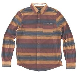 O-039-Neill-GLACIER-STRIPE-Mens-Polyester-Button-Front-Flannel-Shirt-Medium-NEW