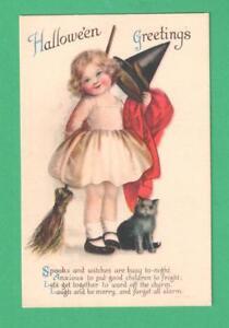 VINTAGE ELLEN CLAPSADDLE HALLOWEEN POSTCARD GIRL WITCH COSTUME BROOM CAT