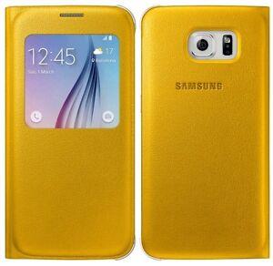 Genuino-Funda-Plegable-De-Galaxy-Samsung-S-VIEW-S6-G920-cubierta-del-telefono-celular-movil-Original