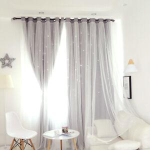 100*250cm Blackout Double-layer Curtains Fairy Starry Curtain Kids Bedroom Decor