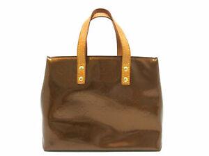 Auth Louis Vuitton Vernis führen PM m91146 Hand Tasche Bronze Lack Leder 86301