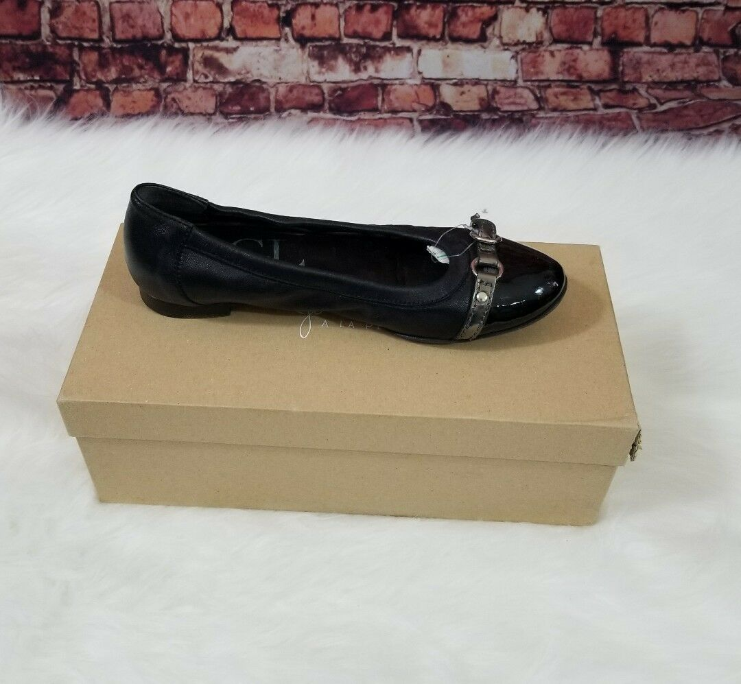 AGL Made in Italy ballet Flats Slip On Black Leather faux buckle toe Sz 35.5