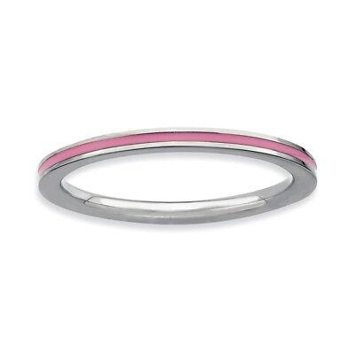 Metalli Preziosi Senza Pietre Gioielli Di Lusso Argento Sterling Accatastabile Espressioni Rosa Smaltato 1.5mm Misure Anello