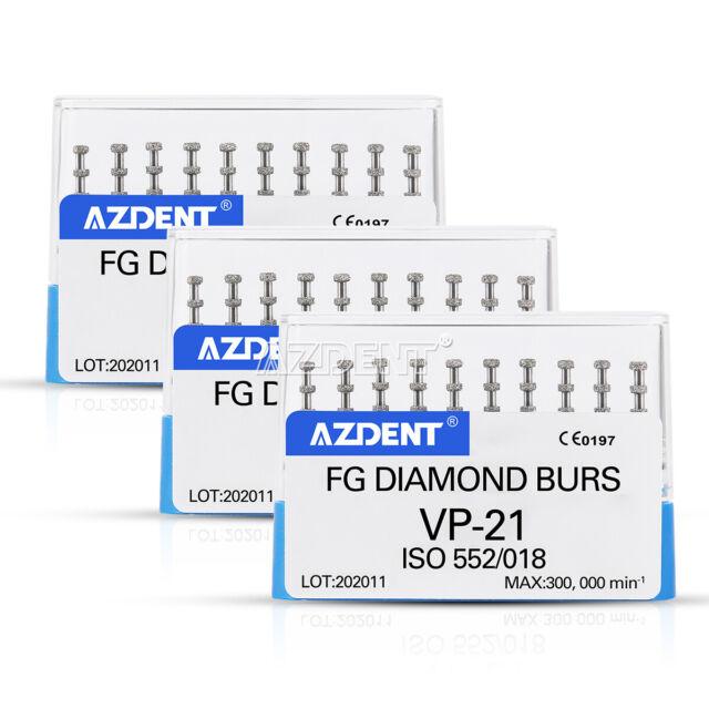 3Box Dental FG Diamond Burs For High Speed Handpiece VP-21 1.6mm AZDENT