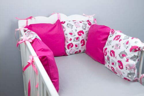 PILLOW BUMPER made form 6 cushions for cot// cot  bed HOT PINK BIRDS RASPBERRY