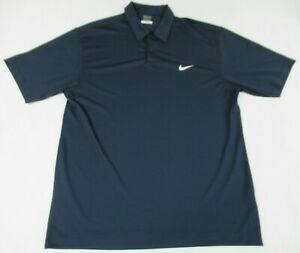 Nike-Golf-Dri-FIT-brode-logo-bleu-marine-Large-Polo-Athletic-Chemise-D1229