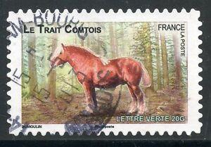 TIMBRE-FRANCE-AUTOADHESIF-OBLITERE-N-818-FAUNE-CHEVAUX-DE-TRAIT-DE-NOS-REGION
