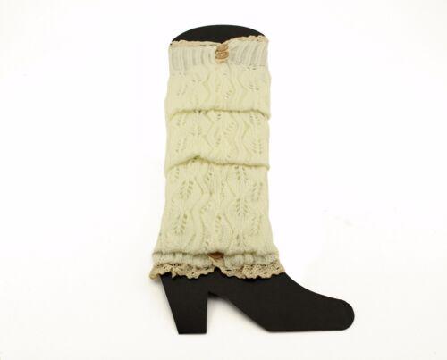 Women/'s Winter Crochet Leg Boot Warmers Button Knit Knee High Winter socks