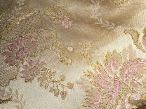 Vintage French Floral Satin Brocade Fabric ~ Pink Olive Green Cream Beige