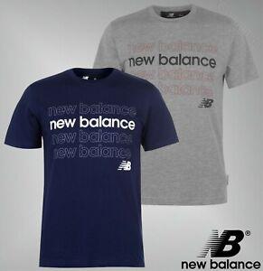 Para-Hombre-New-Balance-Mangas-Cortas-Camiseta-de-repeticion-de-algodon-de-cuello-redondo-Tallas