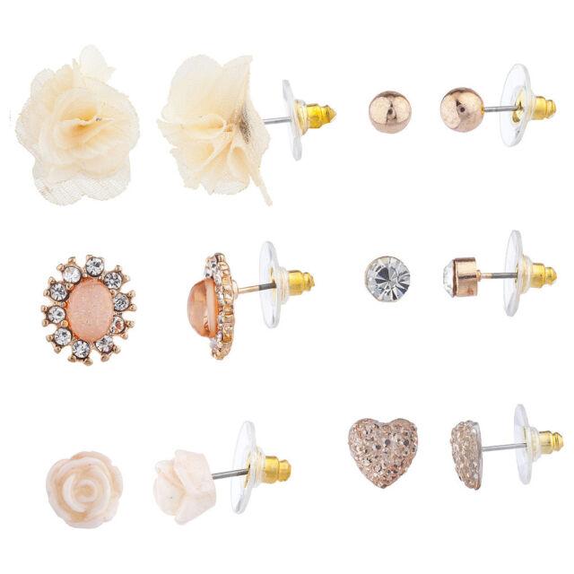 Fashion Jewelry 6pc Gold Tone Stud Dangle Earring Set High Quality