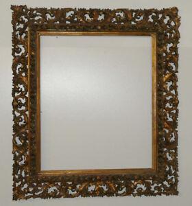 Originaler-Barockrahmen-Filigrane-Durchbruchareit-58-5-x-69-5-cm-Holz-Gold-Stuck