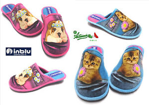 INBLU ciabatte pantofole donna basse flessibili invernali calde RB-50 cane gatto